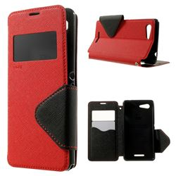 RoarKorea Diary View Leather Flip Cover for Sony Xperia E3 D2203 D2206 / Sony Xperia E3 Dual SIM - Red