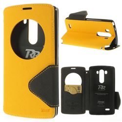 Roar Korea Fancy Diary Quick Circle Leather Flip Cover for LG G3 D850 LS990 - Yellow