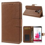 Glossy Magnetic Leather Case for LG G3 D850 D855 LS990 - Brown