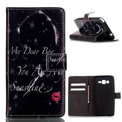 Red Lips Girl Leather Wallet Case for Samsung Galaxy Grand Prime G530 G530H