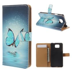 Blue Butterfly Leather Wallet Case for Samsung Galaxy Alpha G850 SM-G850F SM-G850A