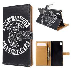 SOA Sons of Anarchy Leather Wallet Case for Sony Xperia M4 Aqua E2303 E2333 E2353
