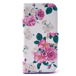 Chinese Rose Leather Wallet Case for HTC One M9 Hima