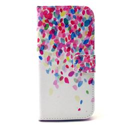 Colored Petals Leather Wallet Case for HTC One M9 Hima