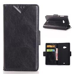 Oil Skin Leather Wallet Case for Microsoft Lumia 535 / Nokia Lumia 535 Dual SIM Nokia Lumia 535 - Black