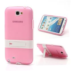 Frosted TPU and Plastic Hybrid Case for Samsung Galaxy Note 2 / Note II N7100 with Stand - White / Pink