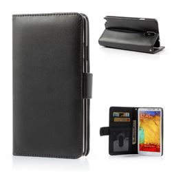 Glossy PU Leather Wallet Case for Samsung Galaxy Note 3 N9000 N9002 N9005 - Black