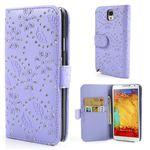 Glittery Powder Flower Leather Wallet Case for Samsung Galaxy Note 3 N9000 N9002 N9005 - Purple