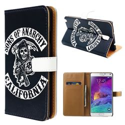 Black Skull Leather Flip Cover for Samsung Galaxy Note 4 N910