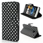 Polka Dots Folio Leather Case for HTC One M7 801e with Built-in Stand and Card Slots - White Dots / Black