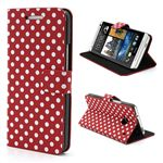 Polka Dots Folio Leather Case for HTC One M7 801e with Built-in Stand and Card Slots - White Dots / Red