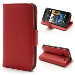 Glossy Leather Wallet Case for HTC One M7 801e with Built-in Stand and Card Slots - Red
