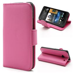 Glossy Leather Wallet Case for HTC One M7 801e with Built-in Stand and Card Slots - Rose