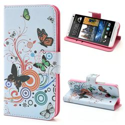 Butterfly Circle Leather Wallet Case for HTC One M7 801e