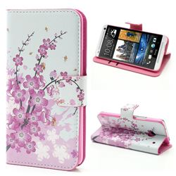 Plum Flowers Leather Wallet Case for HTC One M7 801e