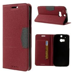 Gold-Sand Texture Leather Case for HTC One M8 - Red