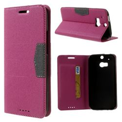 Gold-Sand Texture Leather Case for HTC One M8 - Rose