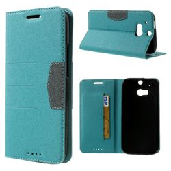 Gold-Sand Texture Leather Case for HTC One M8 - Light Blue