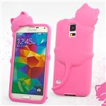Hello Deere Diffie Cat Silicone Case for Samsung Galaxy S5 G900 - Hot Pink