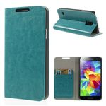 Crazy Horse PU Leather Wallet Case for Samsung Galaxy S5 G900 - Blue