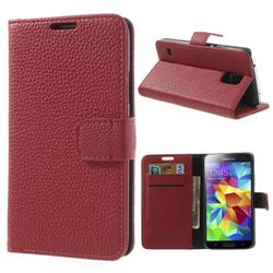 For Samsung Galaxy S5 G900 Litchi Leather Case - Red
