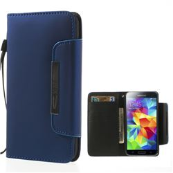 Matte Leather Case for Samsung Galaxy S5 G900 with Handstrap - Blue