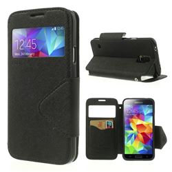 Roar Korea Fancy Diary View Window Leather Case for Samsung Galaxy S5 G900 - Black