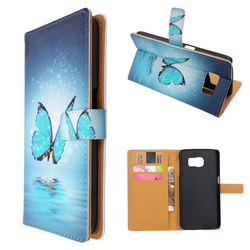 Blue Butterfly Leather Wallet Case for Samsung Galaxy S6 G920 G9200
