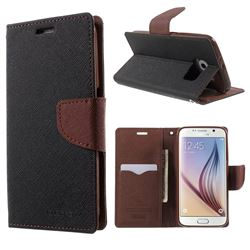 Mercury Fancy Diary Leather Flip Cover for Samsung Galaxy S6 G920 G9200 - Black + Brown