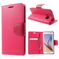 Mercury Sonata Diary Series Glossy Leather Wallet Case for Samsung Galaxy S6 G920 G9200 - Rose