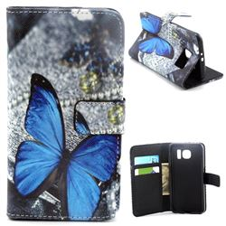 Big Blue Butterfly Leather Wallet Case for Samsung Galaxy S6 G920 G9200