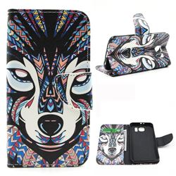Wolf Leather Wallet Case for Samsung Galaxy S6 G920 G9200