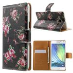 Cross Pattern Garden Rose Flowers Leather Wallet Case for Samsung Galaxy A5 A500 A500F A5009