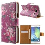 Cross Pattern Red Flowers  Leather Wallet Case for Samsung Galaxy A5 A500 A500F A5009