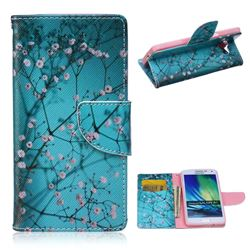 Blue Plum Leather Wallet Case for Samsung Galaxy A5 A500 A500F A5009