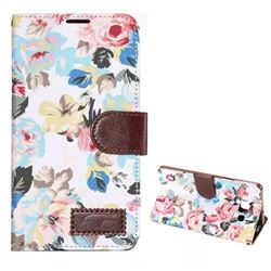Flowers Cloth Leather Case for Samsung Galaxy A7 A700 - White