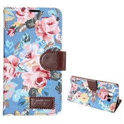 Flowers Cloth Leather Case for Samsung Galaxy A7 A700 - Blue