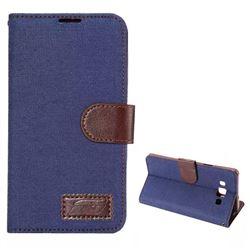 Denim Jans Cloth Leather Case for Samsung Galaxy A7 A700 - Dark Blue