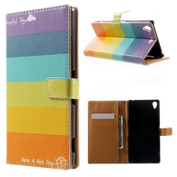 Rainbow Leather Wallet Case for Sony Xperia Z3 LTE D6653 D6603