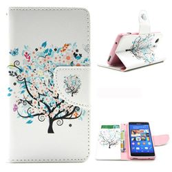 Colorful Tree Leather Wallet Case for Sony Xperia Z3 Compact Mini D5803 M55w