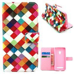 Color Plaid Leather Wallet Case for Asus ZenFone 5 (A500CG/A501CG), LTE (A500KL)