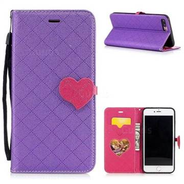 Symphony Checkered Dual Color PU Heart Leather Wallet Case For IPhone 8 Plus 7