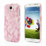 Grapevine Floral Embossed Leather Coated Hard Skin Case for Samsung Galaxy S 4 IV i9500 i9505 - Pink