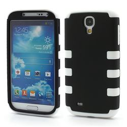 Dual Layer Plastic and Silicone Case for Samsung Galaxy S4 i9500 i9502 i9505 - Black / White