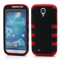 Dual Layer Plastic and Silicone Case for Samsung Galaxy S4 i9500 i9502 i9505 - Black / Red