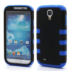 Dual Layer Plastic and Silicone Case for Samsung Galaxy S4 i9500 i9502 i9505 - Black / Blue