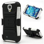 Swivel Belt Clip Silicone and Plastic Hybrid Case for Samsung Galaxy S4 i9500 i9502 i9505 with Stand - Black / White