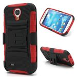Swivel Belt Clip Silicone and Plastic Hybrid Case for Samsung Galaxy S4 i9500 i9502 i9505 with Stand - Black / Red