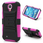 Swivel Belt Clip Silicone and Plastic Hybrid Case for Samsung Galaxy S4 i9500 i9502 i9505 with Stand - Black / Rose