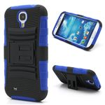 Swivel Belt Clip Silicone and Plastic Hybrid Case for Samsung Galaxy S4 i9500 i9502 i9505 with Stand - Black / Blue